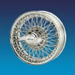 "Daimler 250 V8 Saloon to 1967 (Curly Hub) 5"" x 15""  72 spokes Stainless steel wire wheel"